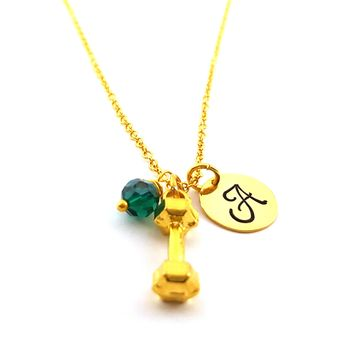 Dumbbell Fitness Charm - Personalized Initial Hand Stamped Gold Necklace