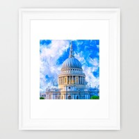 London - The Dome Of St Paul's Cathedral Framed Art Print by Mark E Tisdale