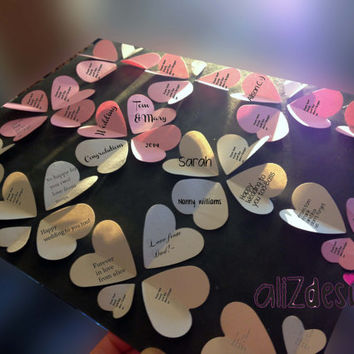 wedding guest book alternative for 42+guests, handmade, framed, heart-shaped art, paper art, velvet paper art.