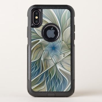 Floral Dream Pattern Abstract Blue Khaki Fractal OtterBox Commuter iPhone X Case