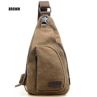 Men's Fashion Canvas Backpack Shoulder Chest Hiking Bag
