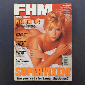 1990s Vintage / FHM Magazine / For Him Magazine / July 1996 / Samantha Janus / British Mens Magazine / 90s Fashion / 90s Style / 90s Culture