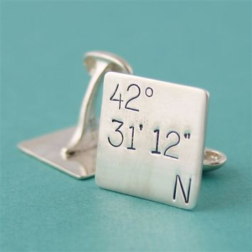 Latitude Longitude Square Cuff Links - Spiffing Jewelry