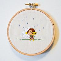 Molly takes a walk embroidery hoop