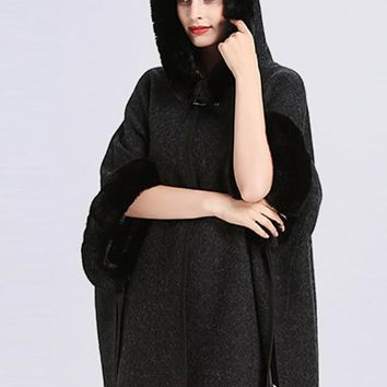 Black Patchwork Irregular Hooded Single Button 3/4 Sleeve Cardigan Cape