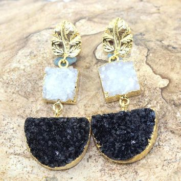 Exclusive Black & White Natural Agate Druzy Gold Electroplated Earring Jewelry