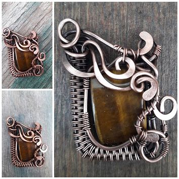 Square Tiger Eye Wire Wrap Necklace