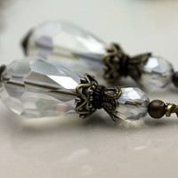 Clear Teardrop Crystal with Brass Vintage Style Bead Dangle Drop Charm Pendant Set