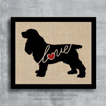 Cocker Spaniel Love - Burlap or Canvas / Wall Art Print for Dog Lovers: Great Gift / Personalized (Free Shipping)
