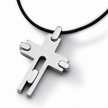 Men's Titanium Leather Cord Cross 18 inch Necklace