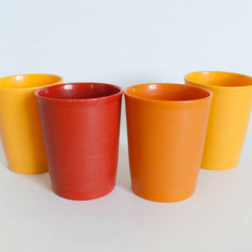 1960's Tupperware Harvest Color 6 oz Tumblers, Tupperware Plastic Juice Cups, Yellow Red Brown Orange, SET of 4