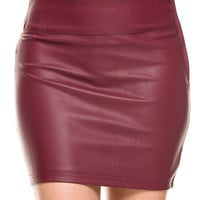 Casual Slim Solid Tight Short Faux Leather Bodycon Sexy Mini Skirt