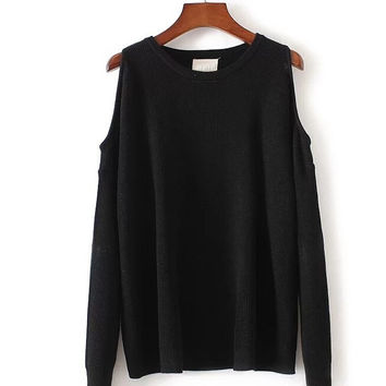 Long Sleeve Cold Shoulder Casual Sweater