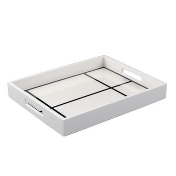 White with Black Grid Lacquer Reiko Tray