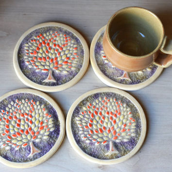 Handmade Ceramic Coasters with Glass and Autumn Tree Design and Cork Backing - House Warming Gift - Set of Four