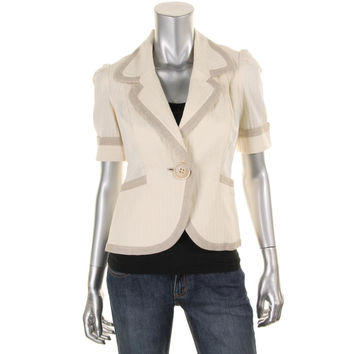 Catherine Malandrino Womens Yasmin Herringbone One Button Casual Blazer