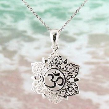 Ethereal Om Lotus Necklace in Sterling Silver