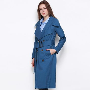 Autumn Double Breasted Long Line Coat Turn Down Collar Blue Women Trench Coat Khaki Tie Waist Street Outwears