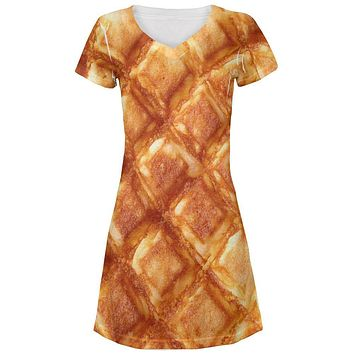 Waffle Juniors V-Neck Beach Cover-Up Dress