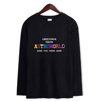 GREETING FROM ASTROWORLD WISH YOU WERE HERE Men/Women O-Neck Long Sleeves T Shirts Kpop Hip Hop Harajuku Streetwear Casual Tops
