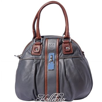 Italian Gray Genuine Leather Handbag with Long Adjustable Strap