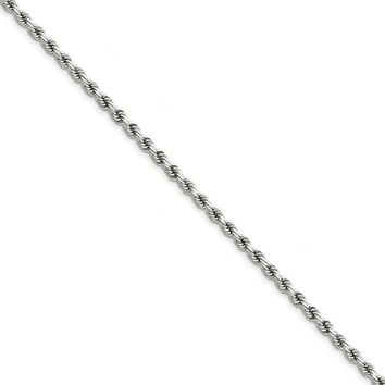 14k White Gold 3.5mm D/C Solid Rope Chain Bracelet or Anklet, 9 Inch