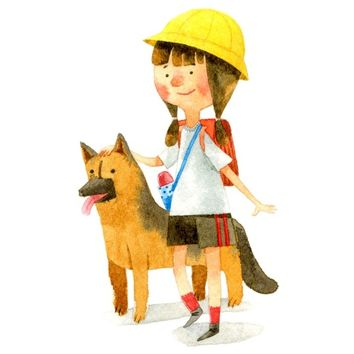 """Girl and Dog"" - Art Print by Bew Wanchai"