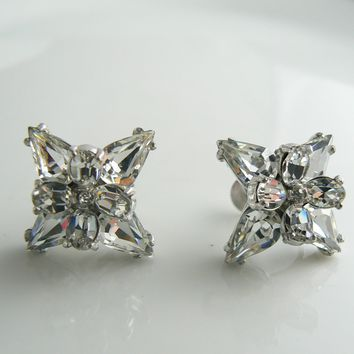 Hollycraft Clear Rhinestone Screw Type Earrings