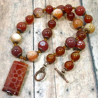 Red Agate Carved Pendant Red Carnelian and Copper Gemstone Necklace