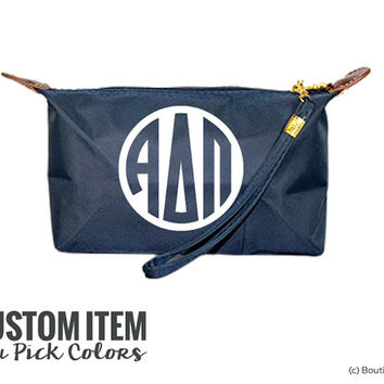 ADPi Alpha Delta Pi Custom Monogram Sorority Wristlet