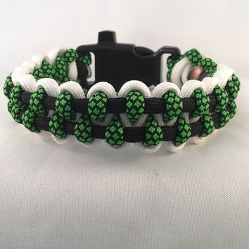 Green Hornet - Paracord Heaven Parallel Weave Survival Bracelet with Emergency Whistle
