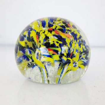 Glass paperweight Vintage Art Glass Paperweight Hand Blown Ball Shaped Paperweight Color Burst with Bubble Glass Art Gift