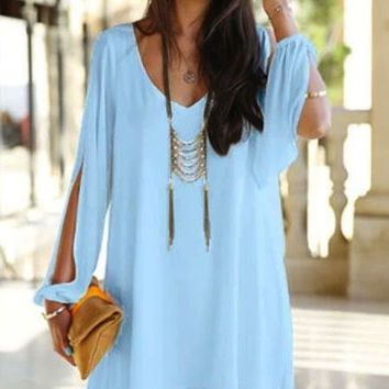COLD SHOULDER LIGHT BLUE SHIRT DRESS