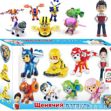 8pcs Ryder Chase Skye Marshall Rocky patrol Puppy toys Figurine Cars Plastic Action Figure Children Gifts awed canina toys