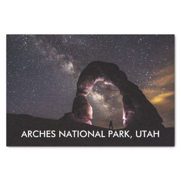 Utah Delicate Arch night stars milky way landscape Tissue Paper