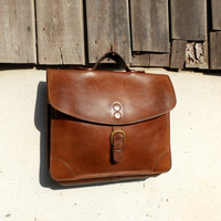 Vintage BREE Distressed Satchel Leather Bag , Crossbody Bag , 13-inches Laptop Bag // Handmade // Made in Germany