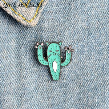 QIHE JEWELRY Funny Cartoon Oil Drop Green Cat Cactus Pins Cat Jewelry Cactus Jewelry Girl Jeans Bag Decoration Pin Wholesale