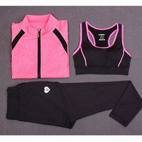 Simple - Sporty Gym Jacket Pants and Tank Top (Three Piece) c0054
