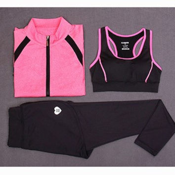 Sporty Gym Jacket Pants and Tank Top (Three Piece) c0054