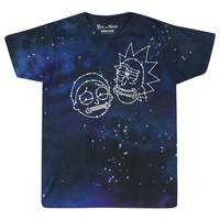 Rick And Morty Constellation Faces Tie Dye Blue T-shirt