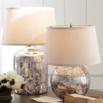 Marley Antique Mercury Glass Table Lamp Bases