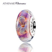 Genuine Murano Glass 925 Silver Core Five-Petaled Flowers Charms Beads Fit Pandora Bracelets and Necklaces Color Purple