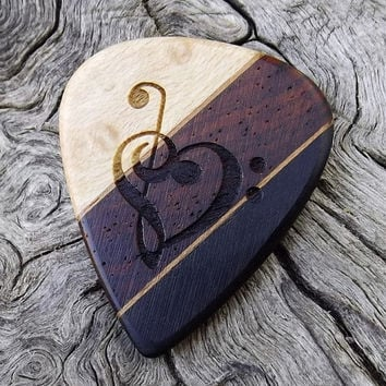 Handmade Laser Engraved Multi-Wood Premium Guitar Pick - Actual Pick Shown - Artisan Guitar Pick - Engraved Both Sides