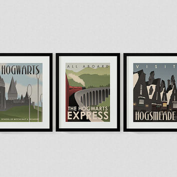 Harry Potter Travel Poster Series: Hogwarts Express, Hogwarts, and Hogsmeade Digital Art Prints
