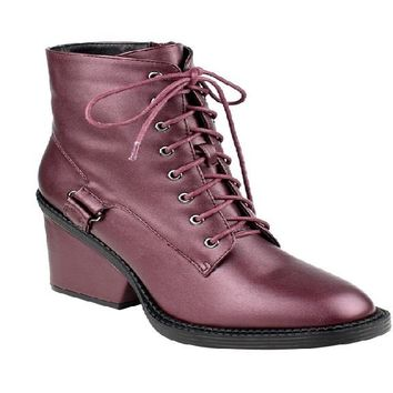 New Women Ankle High Top Wrapped Combat Booties