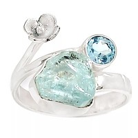 Aquamarine Rough & Blue Topaz Floral Sterling Silver Ring