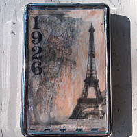Vintage Eiffel Tower Retro 1920's Paris Metal Wallet Vintage France Cigarette Case ID Holder Accessory