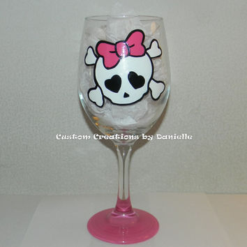 Skull with pink bow wine glass