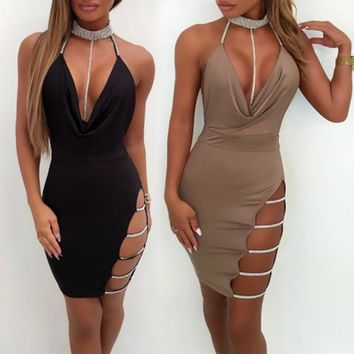 Sexy Sleeveless Bodycon Slim Deep V-Neck Mini Dress