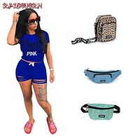 RAISEVERN Summer Two Piece Outfits For Women Tracksuit Ripped 2 Piece Set Pink Letter Print T Shirt Top And Shorts Female Suit